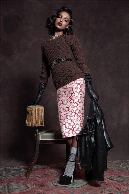 Юбка-карандаш с цветочным принтом и носки