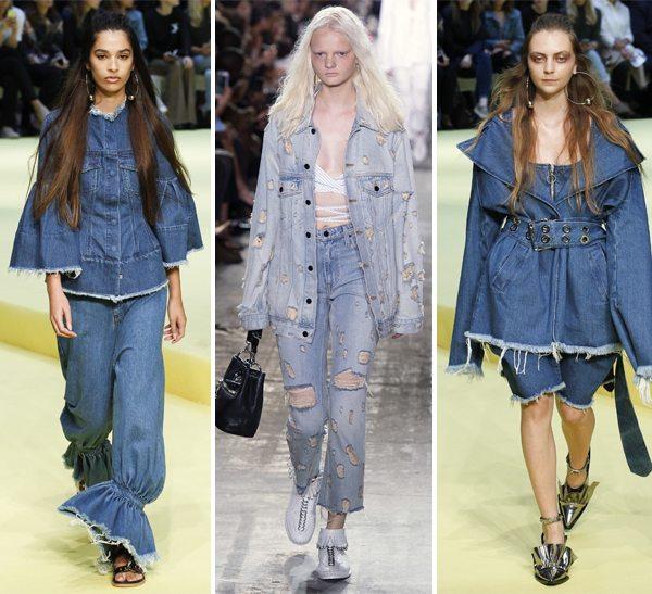 Модная женская джинсовая одежда Marques Almeida Alexander Wang (посередине) весна-лето 2017