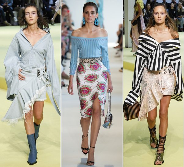 Модные тенденции весна-лето 2017: блузки с открытыми плечами в коллекциях Altuzarra и Marques Almeida