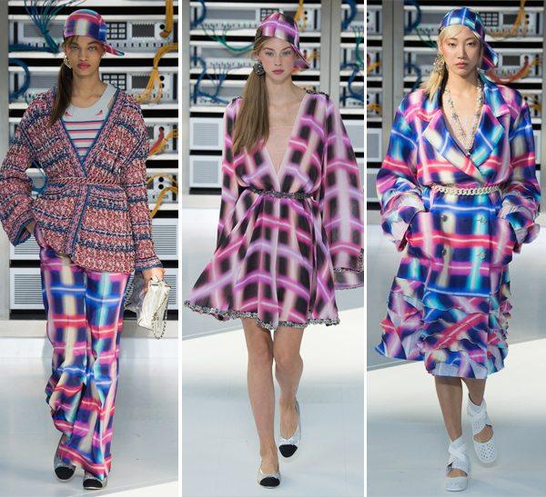 Модные клетчатые брюки, платье и пальто Chanel весна-лето 2017