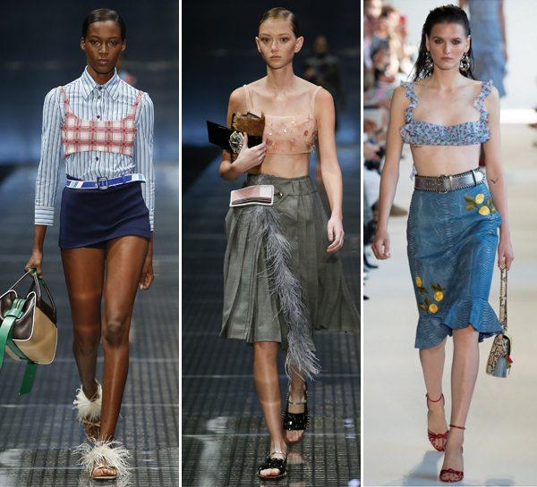 Модные укороченные топы от Prada и Altuzarra весна-лето 2017