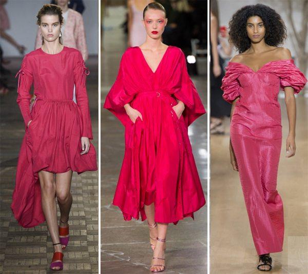 Платья цвета фуксии от Sportmax, Kenzo, Oscar de la Renta весна-лето 2017