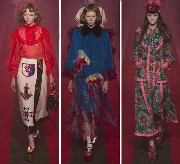 Рюши и оборки на платьях и блузках в весенне-летней коллекции Gucci 2017