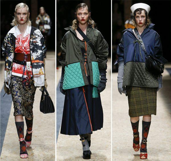 Осенью модели Prada носят носки и гольфы