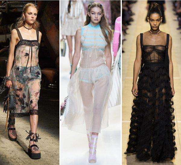 Прозрачные платья в бельевом стиле от Coach 1941, Fendi Christian Dior весна-лето 2017