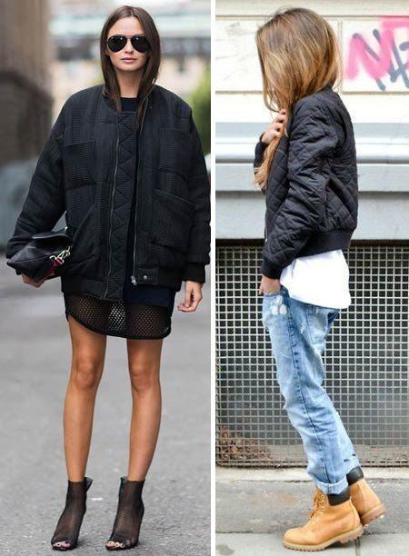 Черная куртка-бомбер: носить с платьем или джинсами
