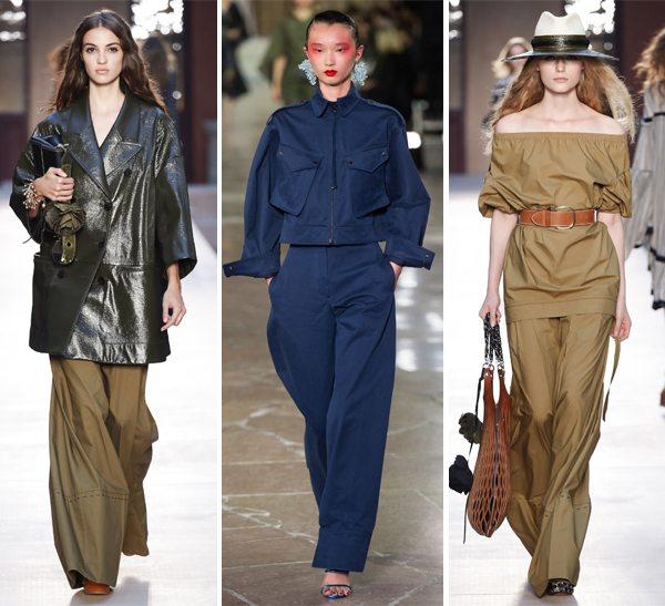 Модные широкие брюки от Sonya Rykiel и Kenzo (посередине) весна-лето 2017