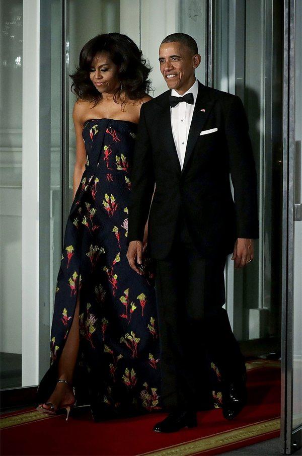 Мишель Обама в вечернем платье; Black tie style