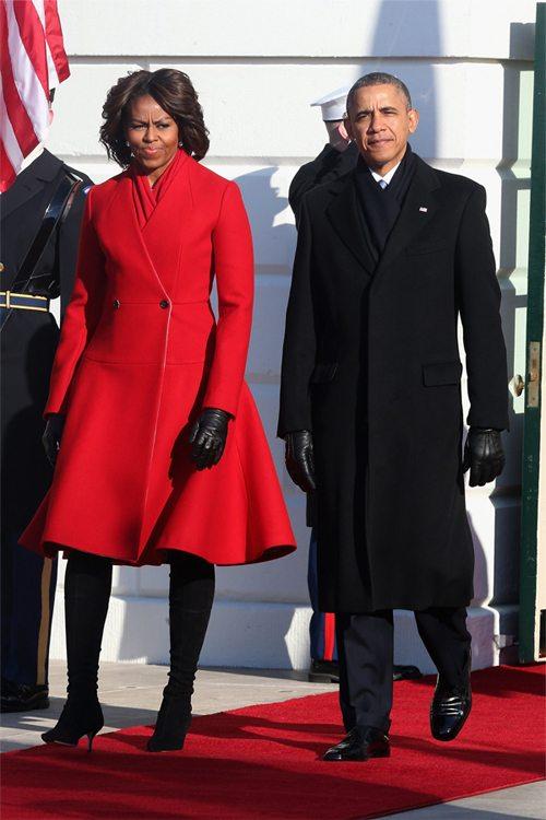 Мишель и Барак Обама: красное и черное