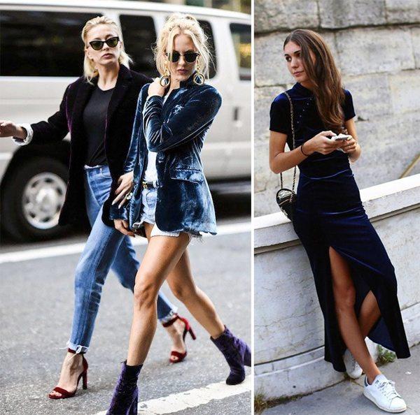 Городские модницы носят одежду из бархата