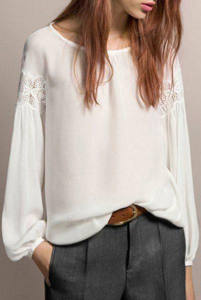 Белая блузка с ажурными вставками