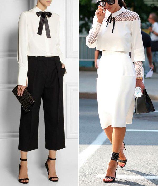 Белая блузка - черный бантик