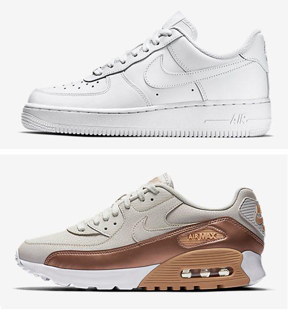 Белые кроссовки Nike кожаные