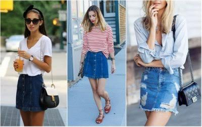 Короткая джинсовая юбка мини