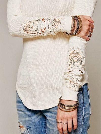 Тонкий свитер с шитьем на рукавах