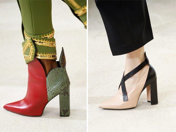 Острый носок на модных ботильонах и туфлях Louis Vuitton весна-лето 2017