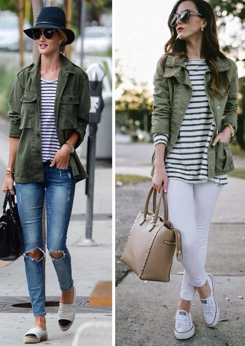 Рубашка цвета хаки в сочетании с джинсами и тельняшками