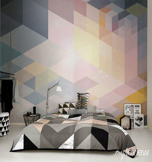 Дизайн итерьера квартиры 2017: геометрические декоративные элементы в спальне