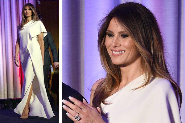 Мелания Трамп в вечернем белом платье