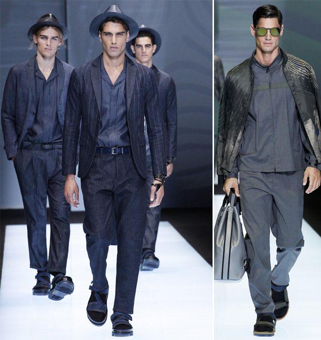Модная мужская одежда из денима Emporio Armani весна-лето 2017