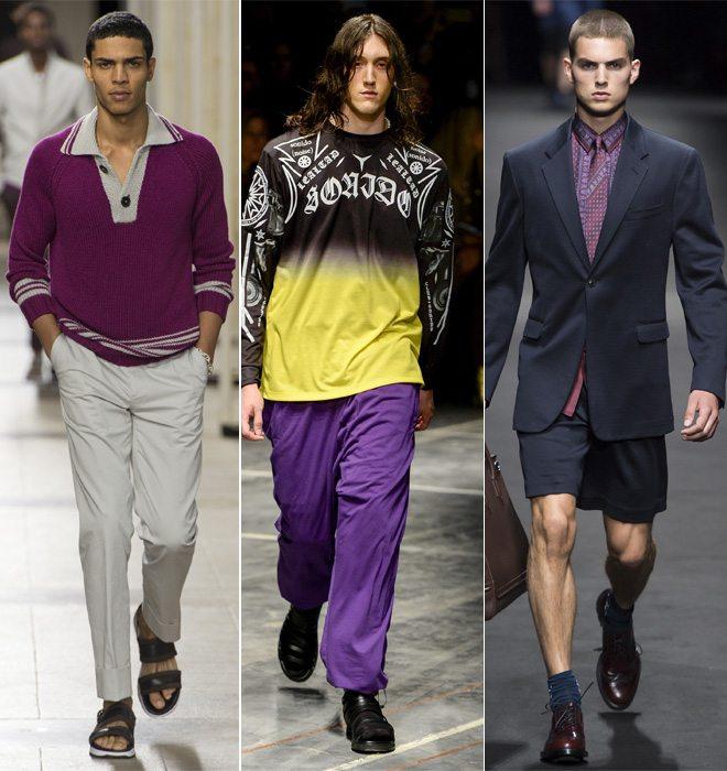 Фиолетовый цвет в мужской одежде в коллекциях Hermes и Versace SS 2017