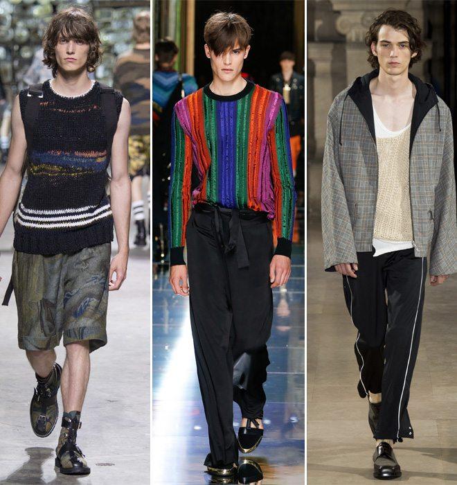 Трикаж из коллекций модной мужской одежды Dries von Noten, Balmain, Maison Margiela весна-лето 2017