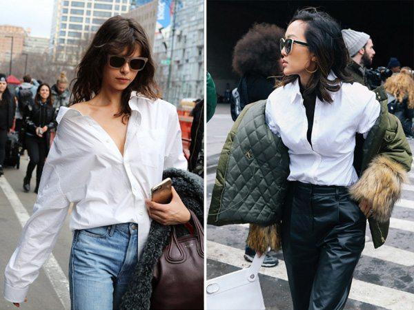 Белые рубашки на уличных модницах