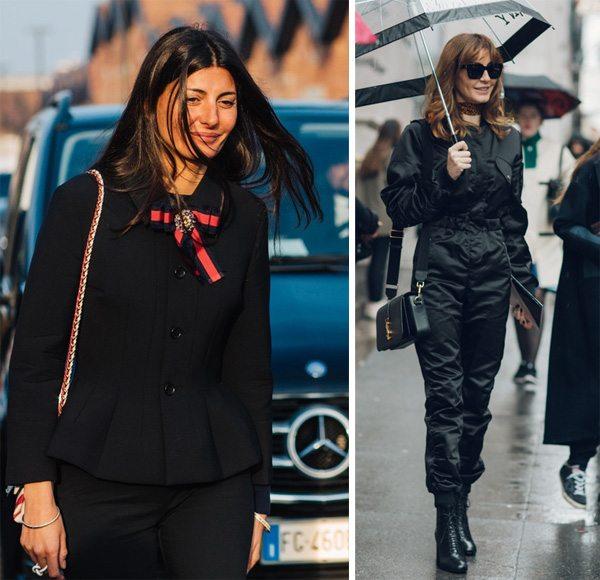 Весной 2017 уличные модницы носят черное
