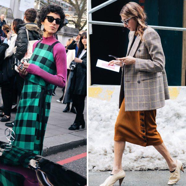 Клетчатый сарафан и жакет из твида на модницах разных возрастов