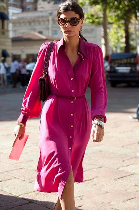 Повседневное платье цвета фуксии для лета 2017
