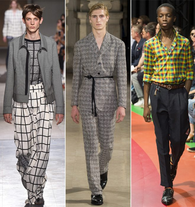 Мужской костюм, брюки оверсайз и рубашка в клетку в коллекциях весна-лето 2017 by Dries von Noten, Maisor Margiela и Gucci