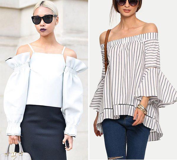 Блузки с широкими рукавами и открытыми плечами