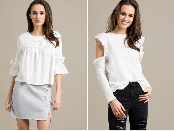 Белая блузка и трикотажный топ