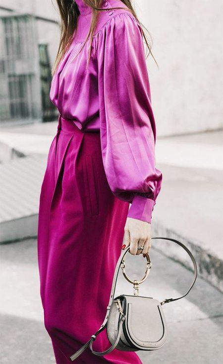 Блузка с широкими рукавами цвета фуксии