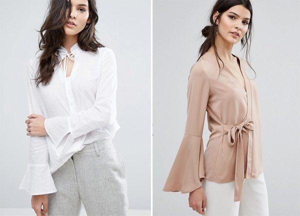 Блузка и топ с запахом с широкими рукавами