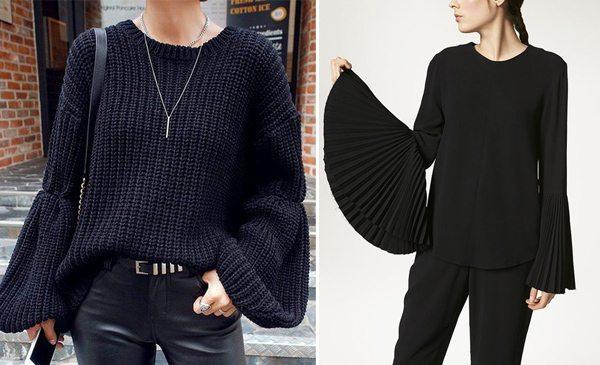 Черный свитер и блузка с широкими рукавами