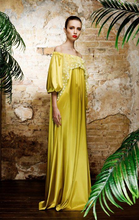 Желтое платье из шелка 2017 от украинского бренда