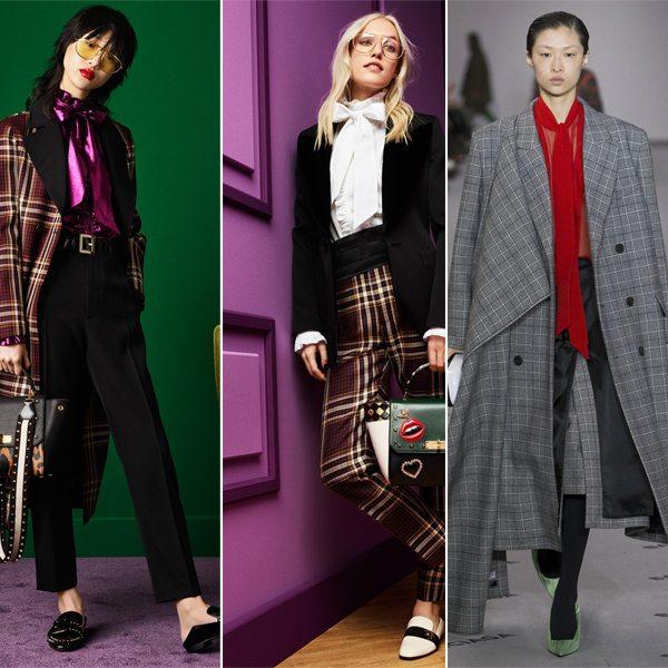 Клетчатое пальто, брюки - Bally, пальто оверсайз - Balenciaga