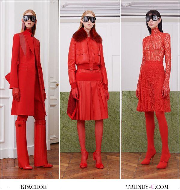 Модная одежда осень-зима 2017-2018 красного цвета