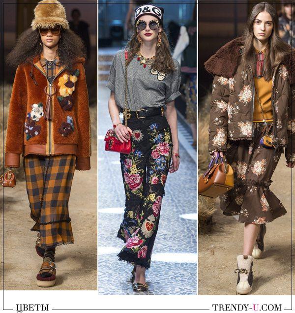 Цветы на куртках и юбках в коллекциях Coach 1941 Dolce & Gabbana (посередине) осень-зима 2017-2018