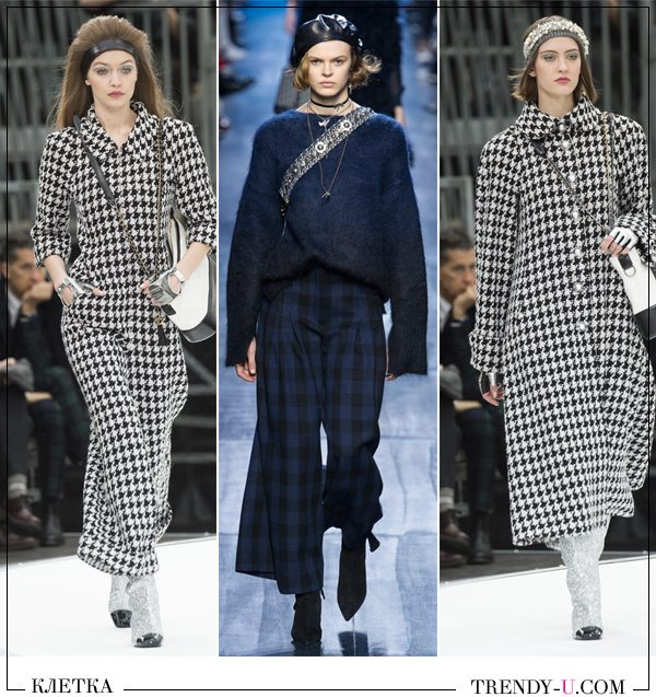 Модный клетчатый брючный костюм и пальто Chanel, брюки Marni осень-зима 2017-2018