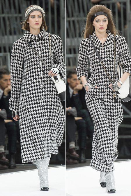 Костюм и пальто с принтом из коллекции Chanel осень-зима 2017-2018