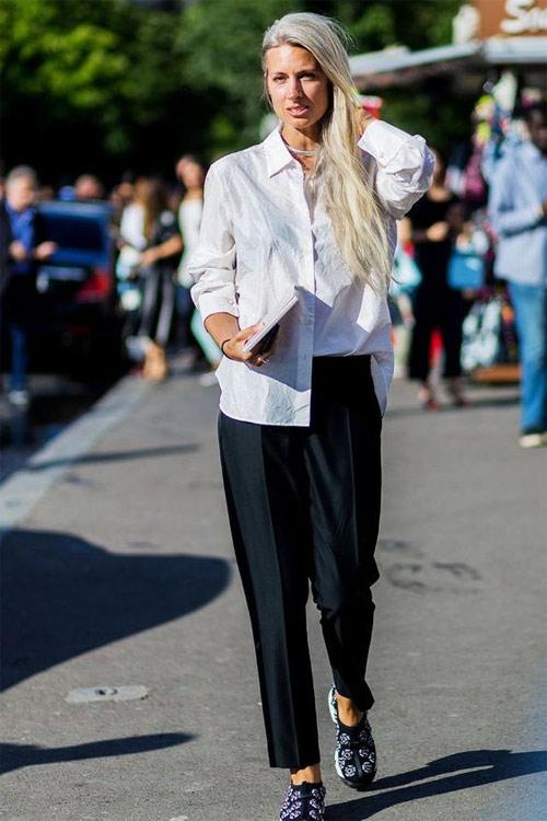 Белая рубашка - черные брюки