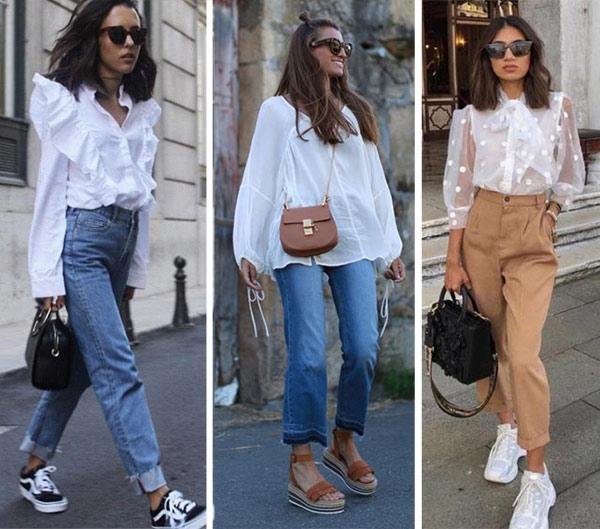 Белая блузка и джинсы или брюки