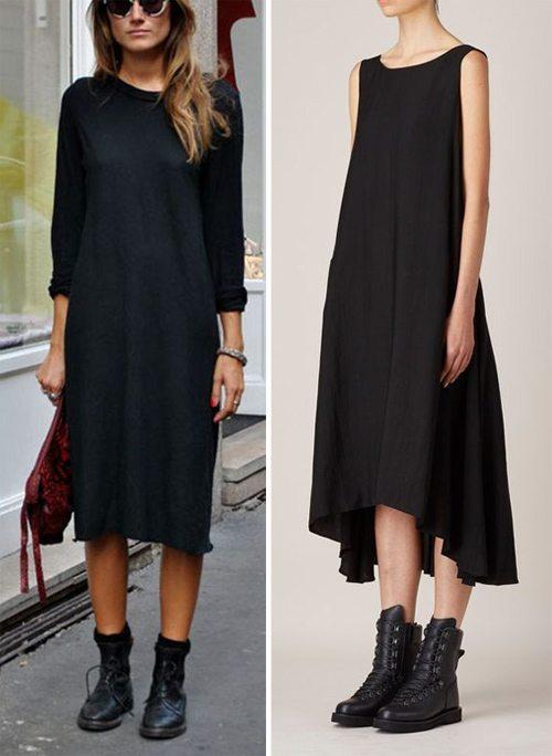 Черное платье и ботинки