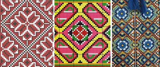 Геометрический узор украинской вышивки