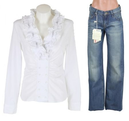 Белая блузка с рюшами - 169 грн, джины - 250 грн