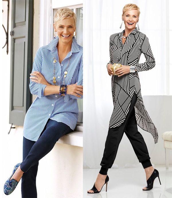 Женщина средних лет носит платье-рубашку с брюками