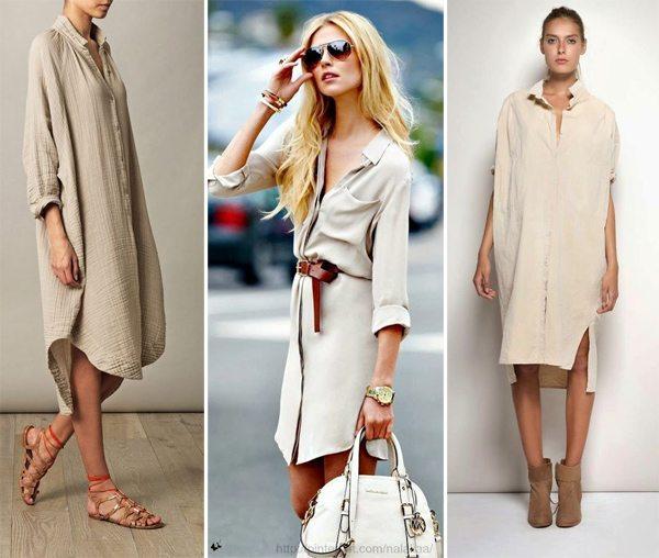 Бежевые платья-рубашки