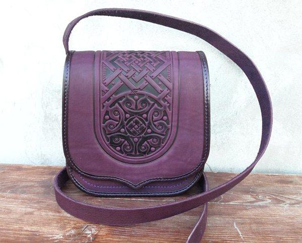 Кожаная сумка с теснением от украинских мастеров хендмейд